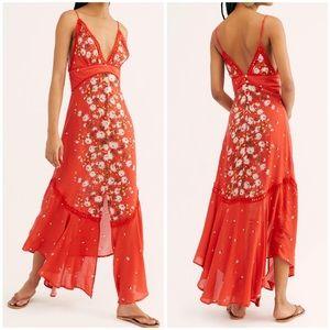Free People Paradise Red cami slip dress (L1/7)